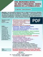 Formation Continue Emulsions, Micro Emulsions, Bases de La Formulation 2011