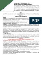 Ley de Simplificacion de Trámites Administrativos Dec. Nº 1.423 17-11-2014