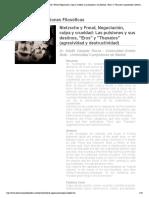 Revista Observaciones Filosóficas - Nietzsche y Freud, Negociación, culpa y crueldad_ Las pulsiones y sus destinos, _Eros_ y _Thanatos_ (agresividad y destructividad)