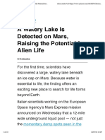 Watery Lake is Detected on Mars, Raising the Potential for Alien Life