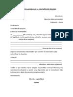 Carta de Reclamación a La Compañía de Seguros
