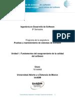 Unidad 1 Fundamentos Del Aseguramiento de La Calidad Del Software