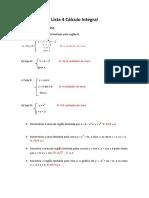 Lista de Exercício de Calculo Integral - Area e Volume