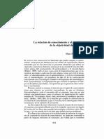 Zemelman - La Relacion de Conocimiento y El Problema de La Objetividad de Los Datos