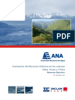 Resumen Ejecutivo-Evaluación de los Recursos Hídricos de las cuencas Mala, Omas y Chilca