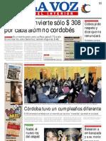 """Portada de """"La Voz del Interior""""- Lunes 7 de Julio de 2008-"""
