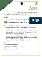 Álgebra FCE Bibliografía_2º2018