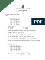 Terceira Lista de Exercícios - Calculo Numérico