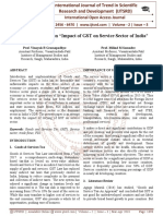A Research Paper on 'œImpact of GST on Service Sector of India'