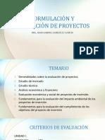 FORMULACIÓN Y EVALUACIÓN DE PROYECTOS UNIDAD I