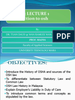 1 Introduction to OSH and History of OSH