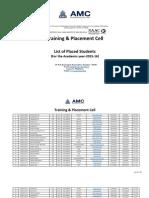 Amc Banhgalore Placement List _2015-16