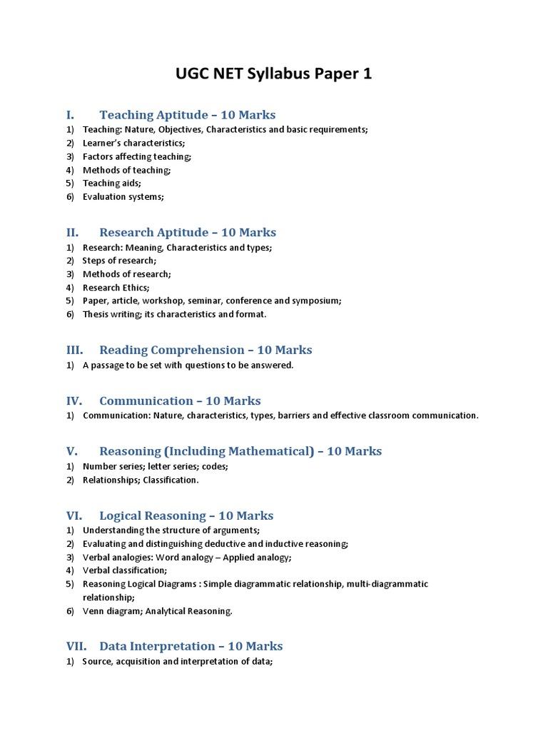 Ugc net syllabus paper 1 1533647207v1 ccuart Images