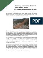 Testimonio de Francisco y Joaquín Sobre El Terremoto Del 2001