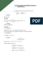 Integracion de Las Funciones Logaritmo Natural y Exponencial
