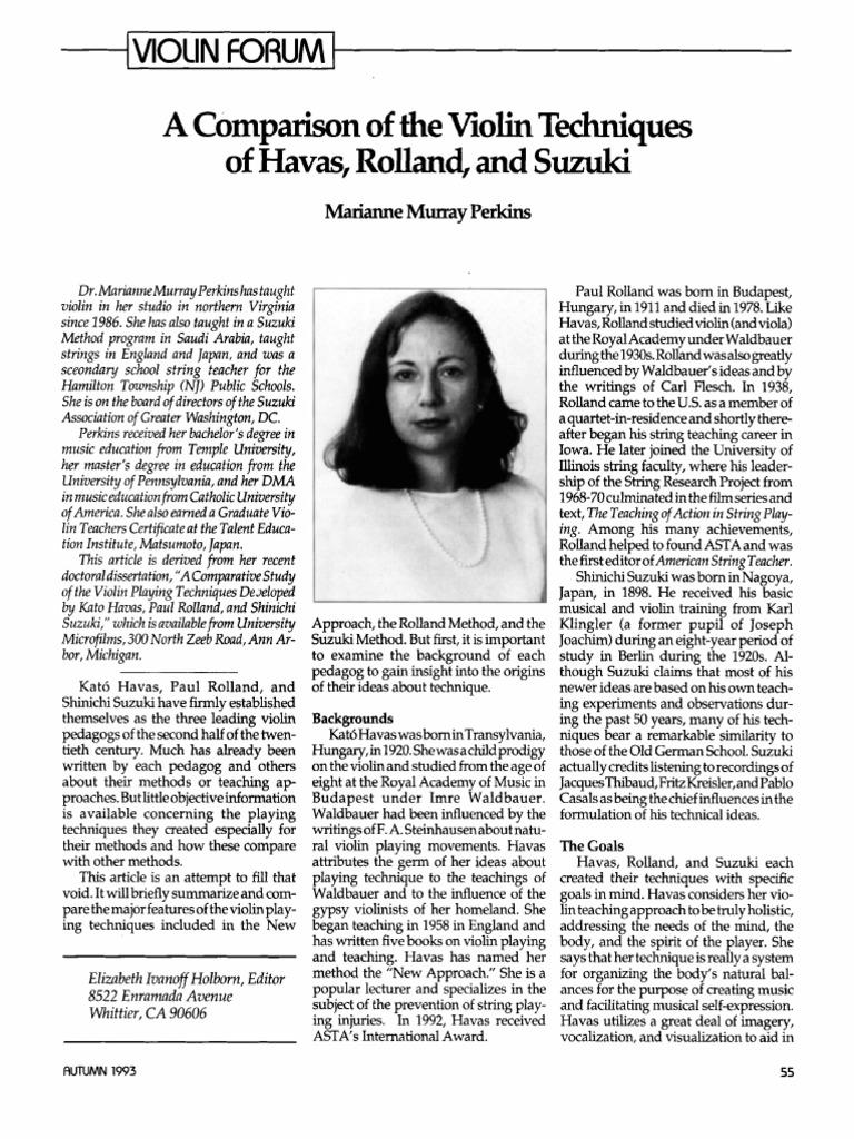 Comparison of the Violin Techniques of Havas, Suzuki, And Rolland