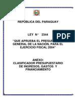 Clasificador Presupuestario 2004