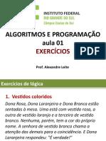 Aula 01 - Logica de Programacao - Exercicios