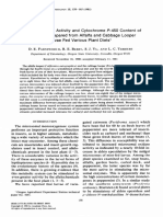 Aldrin Epoxidase Activity and Cytochrome P-450 Content of Microsomes Prepared From Alfalfa and Cabbage Looper Larvae Fed Various Plant Diets