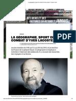 La Géographie, Sport de Combat d'Yves Lacoste - Culture _ Next