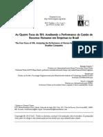 TANURE – EVANS – CANÇADO - As Quatro Faces de RH - Analisando a Performance Da Gestão de Recursos Humanos Em Empresas No Brasil 59242669