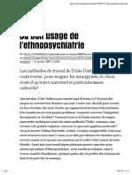 Stengers & Latour - Du bon usage de l'ethnopsychiatrie