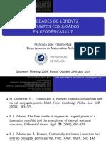 Variedades de Lorentz Sin Puntos Conjugados en Geodésicas Luz