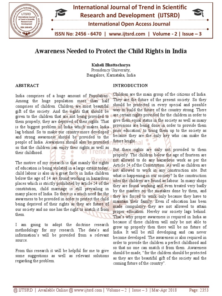 Awareness Needed to Protect the Child Rights in India | Children's