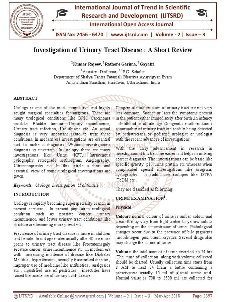 Investigation of Urinary Tract Disease : A Short Review | Creatinine |  Kidney