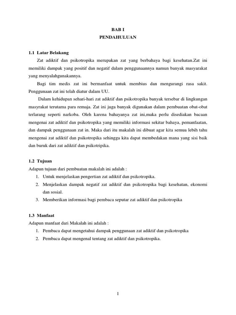 Makalah Zat Adiktif Dan Psikotropika Smp Kelas 8 Contoh Makalah