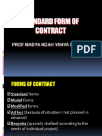 Standard Form of Contract note