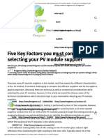 Five Key Factors You Must Consider While Selecting Your PV Module Supplier