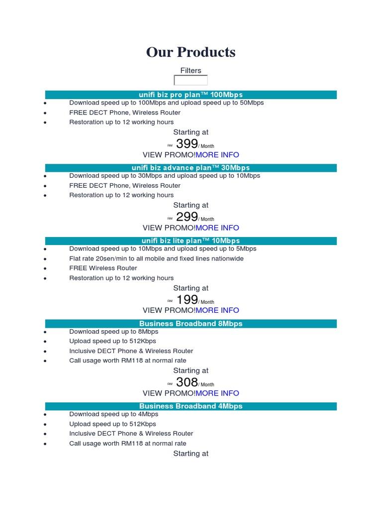 Our Products: unifi biz pro plan™ 100Mbps