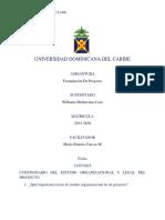 Cuestionario Del Estudio Organizacional y Legal Del Proyecto.