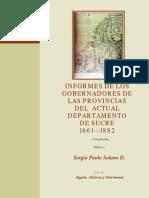 Informe de Los Gobernadores de Las Provincias Del Dpto. de Sucre, 1861-1882.