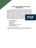Acta de Entrega de Vehiculo Mayor de Placa de Rodaje m1o