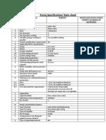 Pump Specification Data Sheet