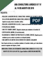 Aviso Inscripciones Para Consultorio Juridico III y IV