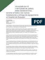 Visita a Las Nuevas Instalaciones y Entrega de Equipamiento Al Hospital de Zoquipan