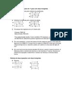 Lista de Exercícios Sistemas de Equações