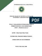 INFLUENCIA DE LOS PARÁMETROS TÉCNICOS DE FERMENTACIÓN SOBRE LA CALIDAD DEL GRANO DE (Theobroma cacao L.)