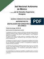 DESTILACIÓN POR ARRASTRE DE VAPOR DE ACEITE DE CANELA