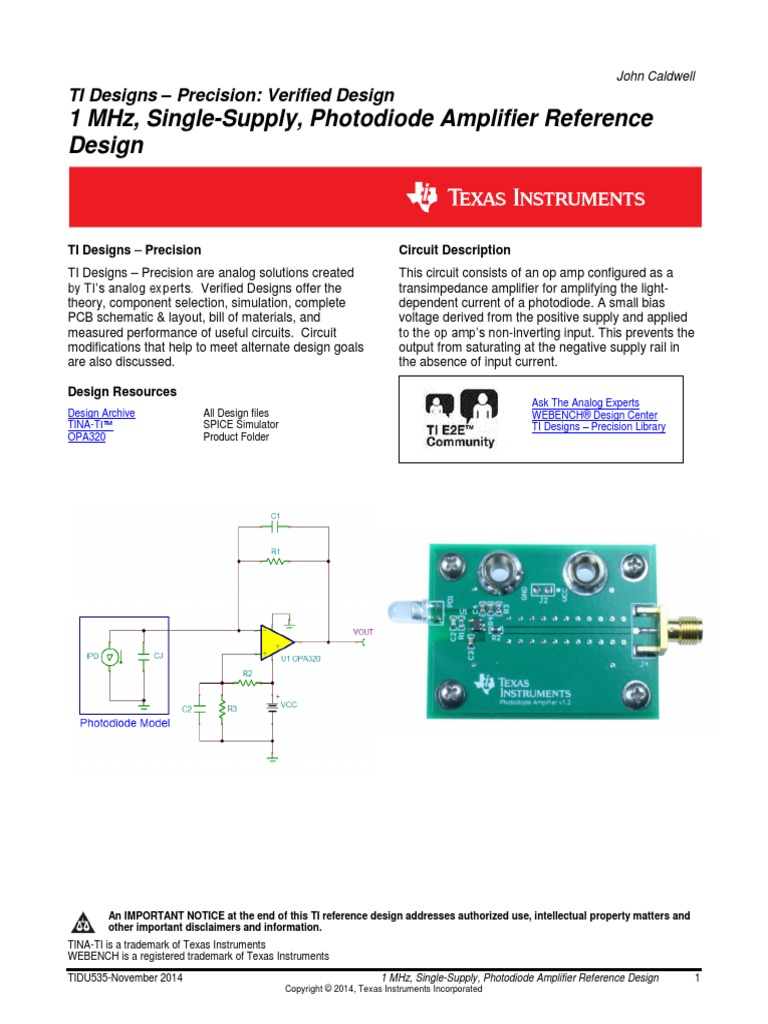 Transimpedance Amplifier Ti Operational Electronic Circuits And Diagram