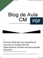 20 Trucos SEM de Campañas de Anuncios en Google Adwords
