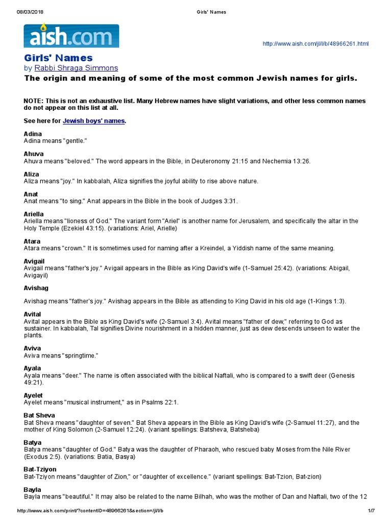 Hebrew Girls' Names | Miriam | Sarah
