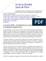 Breve Histoire de La Société Psychanalytique de Paris