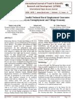 Impact of Mahatma Gandhi National Rural Employment Guarantee Act (MGNREGA) on Unemployment and Village Economy