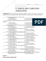 Simple Compound Subject and Predicate