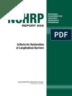 NCHRP Report 656 Criteria for Restoration of Longitudinal Barrieres