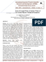 Comparative Analysis of Ground Water & Surface Water of Kolhapur based on various Physico-Chemical Parameters